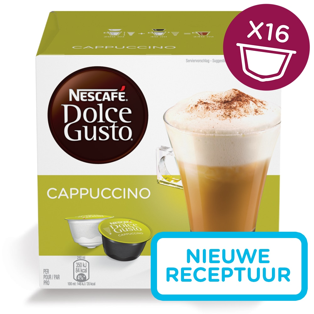 cappuccino 16 capsules nescaf dolce gusto nescaf. Black Bedroom Furniture Sets. Home Design Ideas